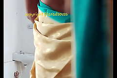 Indian beautiful crossdresser model Lara D'Souza saree membrane