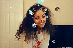 Christmas Snapchat teen gives pulsation deepthroat blowjob with massive cumshot swallow tiktok hot shots POV Indian