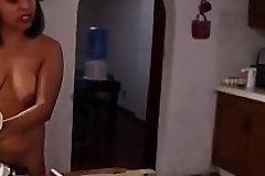 Indian well-spring woman cooking nude