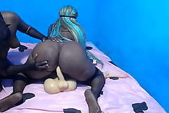 African amazon with a big butt riding a dildo torso