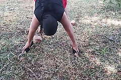 Indian Muslim Bhabhi Outdoor Public Doing Nude Yoga Risky Unexcelled Pissing