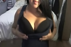 Busty asian taunts her white bf on webcam