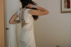 Indian Establishing Chick Jasmine Mathur In White Indian Sari