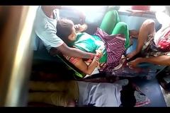 span having fun in public train